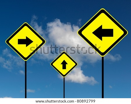 A road sign isolated against a blue sky - stock photo
