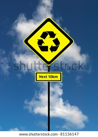A road sign isolated against a blue sky
