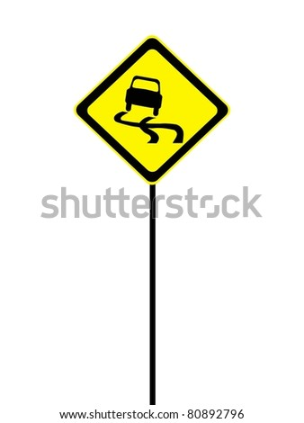 A road sign isolated against a white background