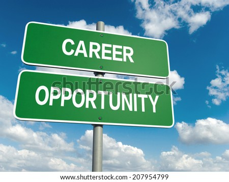 A road sign with career opportunity words on sky background  - stock photo