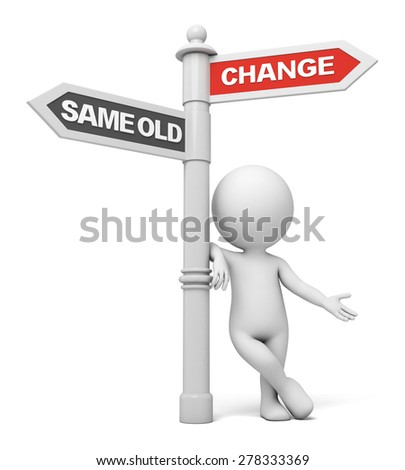 A road sign with change same old words. 3d image. Isolated white background