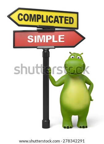 A road sign with complicated simple words, 3d image. Isolated white background - stock photo