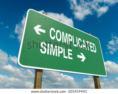A road sign with complicated simple words on sky background  - stock photo