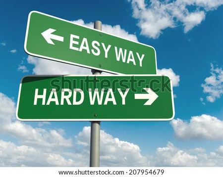 A road sign with easy way hard way words on sky background  - stock photo