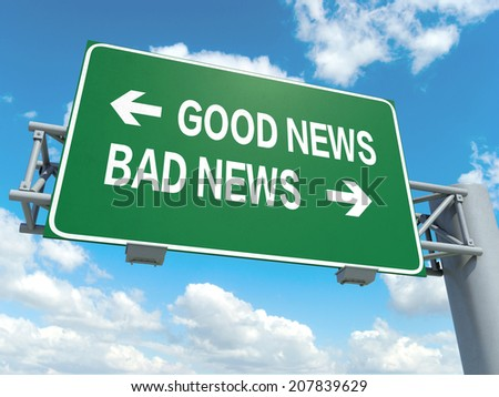 A road sign with good news bad news words on sky background  - stock photo