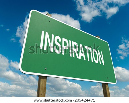 A road sign with inspiration words on sky background  - stock photo