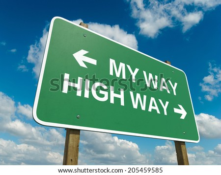 A road sign with my way high way words on sky background  - stock photo