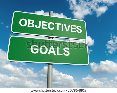 A road sign with objectives goals words on sky background  - stock photo