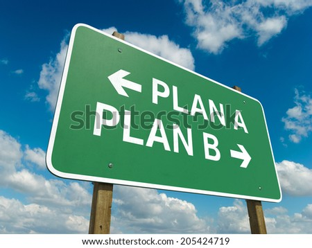 A road sign with plan A plan B words on sky background  - stock photo