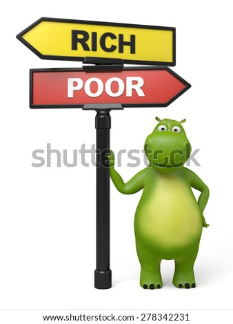 A road sign with rich poor words. 3d image. Isolated white background  - stock photo