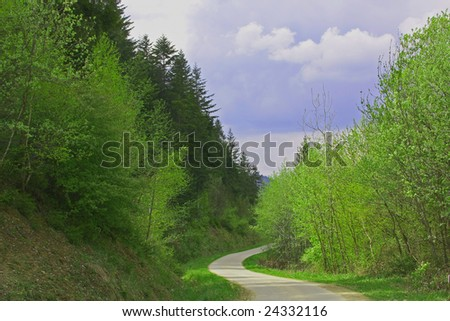 A road to a fantasy landscape - stock photo