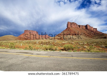 A road to Moab near Arches National Park. This is a scenic byway (U-128) - stock photo