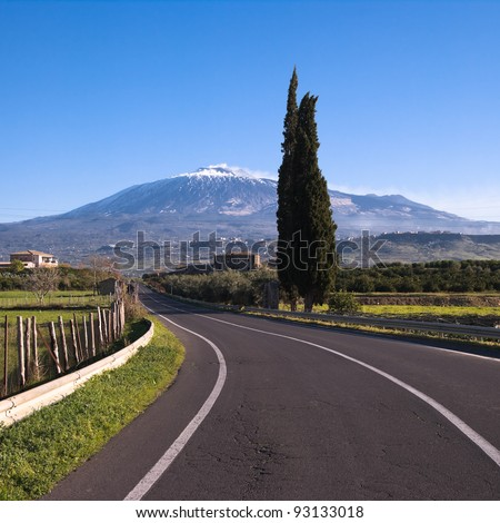 a road to volcano Etna - stock photo