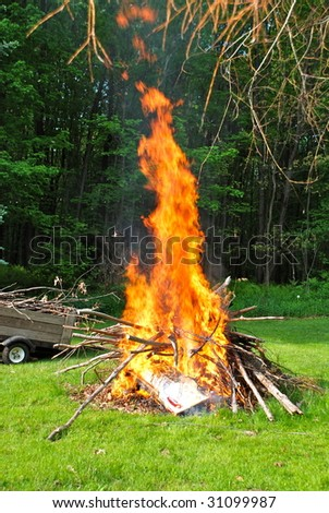 A roaring camp fire. - stock photo