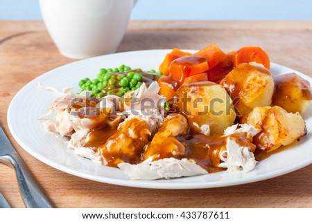 A roast chicken dinner on a white plate