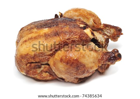a roast chicken on a white background - stock photo