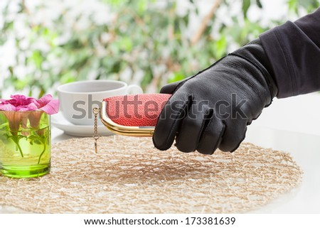 A robber's hand holding an expensive purse - stock photo
