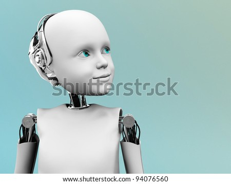 A robot child gazing into the future. - stock photo