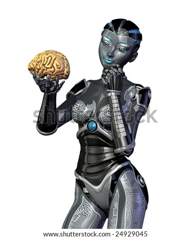 A robot examines a human brain - 3d render. - stock photo