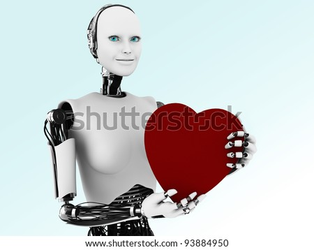 A robot woman holding a big red heart. - stock photo