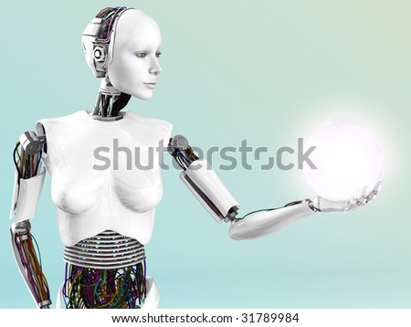 A robot woman holding a glowing sphere of energy or light in her hand.