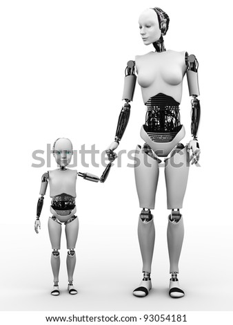 A robot woman holding hand with her robot child. White background.