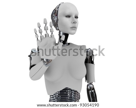 A robot woman holding her hand up like she is stopping someone. The hand is in focus and the body is out of focus. White background. - stock photo