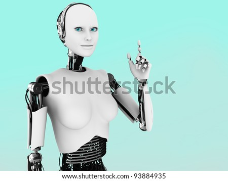 A robot woman holding her hand up with her index finger extended, like she is having an idea. - stock photo