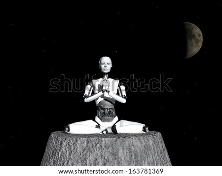 A robot woman sitting somewhere in space and meditating, eyes closed. - stock photo