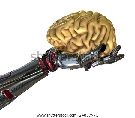 A robotic hand holds a human brain - 3D render. - stock photo