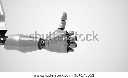 A robotic mechanical arm. Strong stylish futuristic design concept. Cybernetic organism with Artificial Intelligence. - stock photo