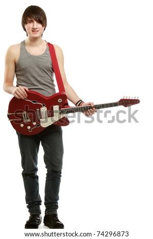 A rock guitarist - stock photo