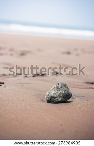 A rock sits in the sand on a beach in Cameroon, Africa - stock photo