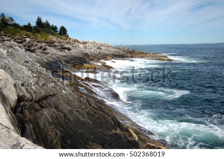 A rocky coastline along the Atlantic Ocean in Maine