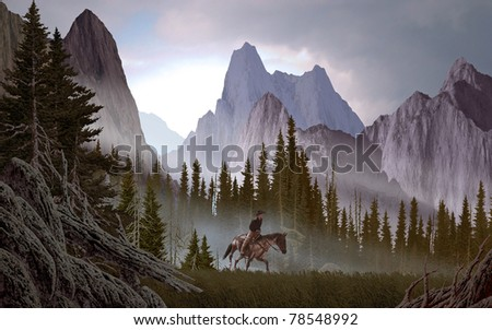 A Rocky Mountain landscape scene with cowboy. - stock photo