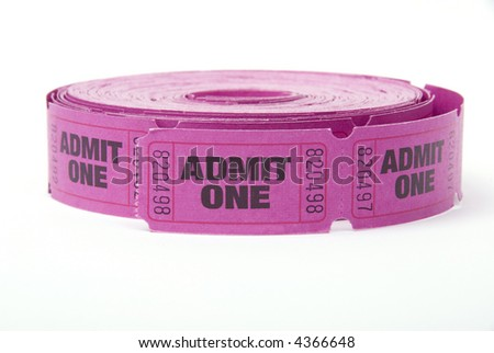 A roll of admit one tickets on a white background - stock photo