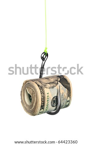 A roll of cash on a fishhook isolated on a white background. - stock photo