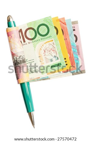 A roll of colorful Australian banknotes held by a pen like the shape of a flag