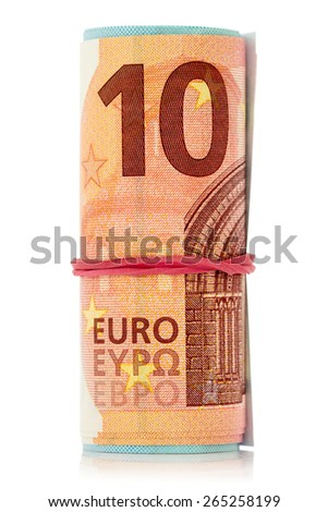A roll of Euro notes with an elastic band wrapped around - stock photo