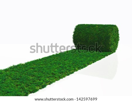 a roll of grass carpet is unrolling in one direction on a white background
