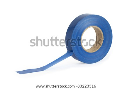 A roll of ordinary blue insulation tape on white background. Isolated with clipping path