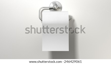 A roll of white toilet paper hanging on a chrome toilet roll holder on an isolated white textured background - stock photo