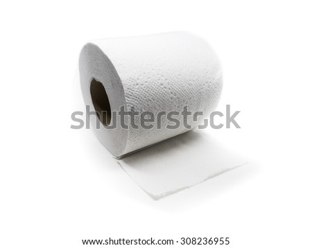 A roll of white toilet paper on an isolated white background - stock photo