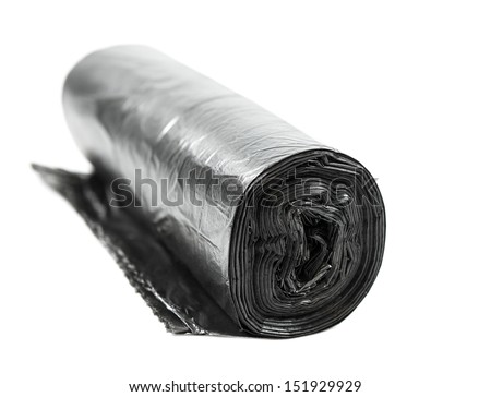 A roll packages for garbage isolated on white. Shallow depth of field. - stock photo