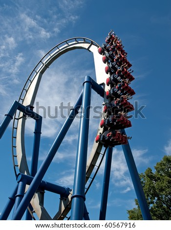 A rollercoaster at a theme park in USA - stock photo
