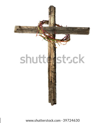 A Roman cross made of old, weathered wood, encircled by a bloody crown of thorns, emblematic of the crucifixion of Jesus Christ. - stock photo