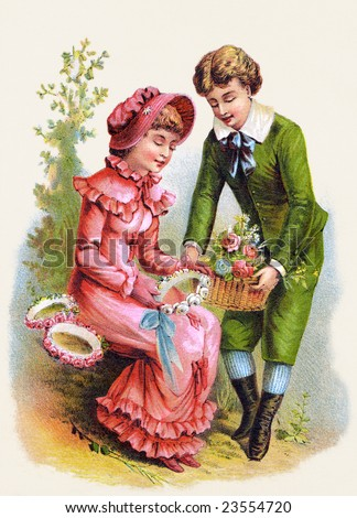A romantic couple courting and exchanging flowers - an 1886 Victorian style illustration - stock photo