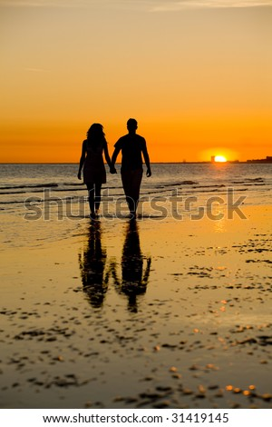 A Romantic Sunset - stock photo