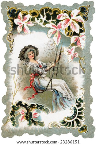 A romantic, Victorian greeting card illustration of a woman in a lacy dress, swinging on a swing, surrounded by a floral frame, circa 1880 - stock photo