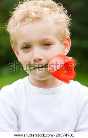 A romantic young boy - stock photo